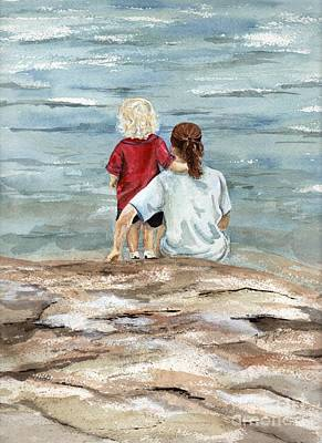 Children By The Sea  Art Print by Nancy Patterson