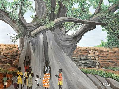 Painting - Children By The Tree Burkina Faso Series by Reb Frost