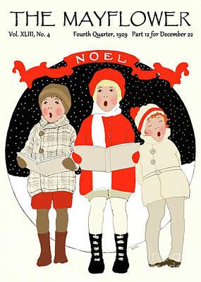 Children Caroling At Christmas Art Print