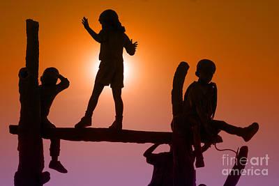 Children Climbing Art Print by Tim Hightower