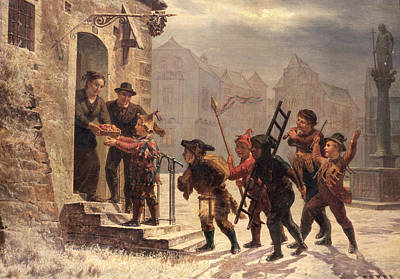 Winter Scenes Painting - Children Collecting Fruit At The Door   by Leopold Til