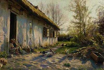 Painting - Children Feeding Ducks At Sunrise by Peder Monsted