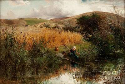 Children Fishing Beside A Cornfield Art Print