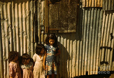 San Juan Painting - Children In A Company Housing Settlement by Celestial Images