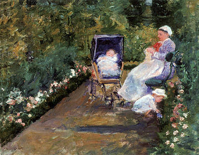 Photograph - Children In A Garden by Mary Cassatt