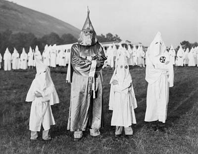 Children In Ku Klux Klan Costumes Pose Art Print by Everett
