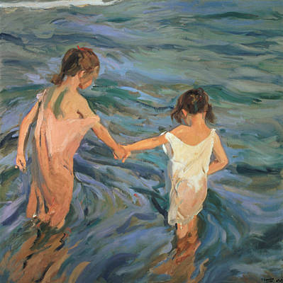Beach Oil Painting - Children In The Sea by Joaquin Sorolla y Bastida