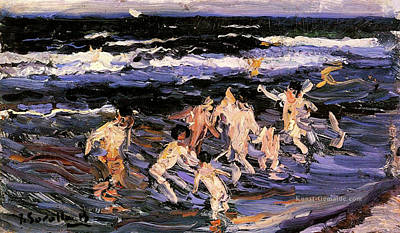 Painting - Children In The Sea by Juaquin Sorolla
