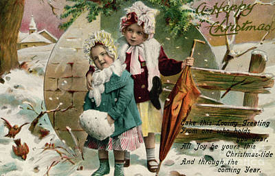 Children In The Snow, Victorian Christmas Card Art Print