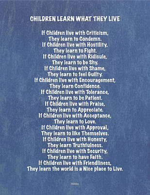 Laugh Painting - Children Learn What They Live In Blue Jeans On Denim by Desiderata Gallery