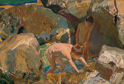 Spanish Art Painting - Children Looking For Shellfish by Joaquin Sorolla