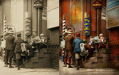 Paper Boy Photograph - Children - Morning Meeting 1910 - Side By Side by Mike Savad