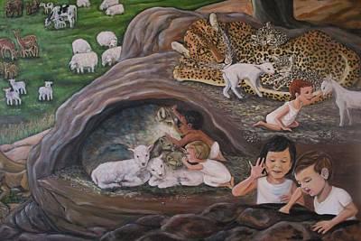 Lion And Lamb Painting - Children Of God by Jennifer Kwon