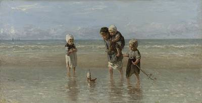 Painting - Children Of The Sea Jozef Israels 1872 by R Muirhead Art
