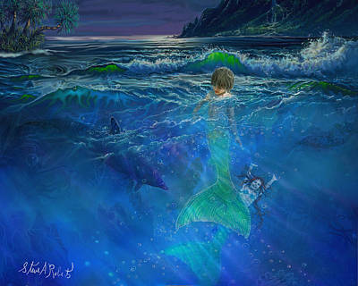 Mermaid Painting - Children Of The Sea by Steve Roberts
