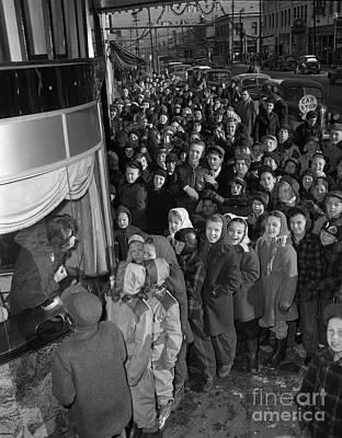 Children On Line For The Movies, 1946 Art Print by The Harrington Collection