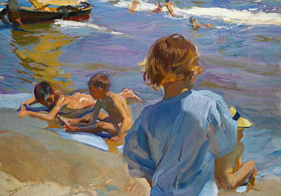 Children On The Beach Painting - Children On The Beach, Valencia by Joaquin Sorolla