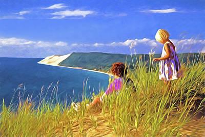Digital Art - Children On The Dunes by Dennis Cox Photo Explorer