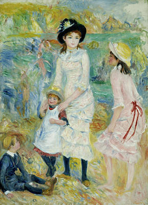Painting - Children On The Seashore Guernsey by Auguste Renoir