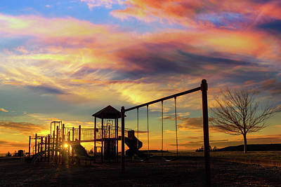 Wall Art - Photograph - Children Playground At Sunset by David Gn