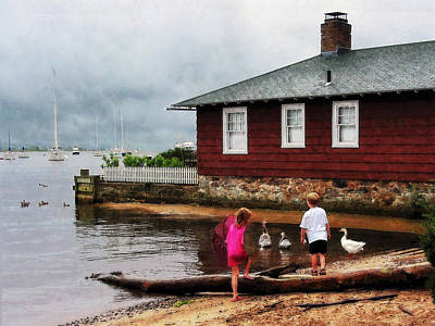 Art Print featuring the photograph Children Playing At Harbor Essex Ct by Susan Savad