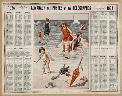 Children Playing At The Beach  Art Print