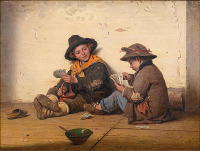 Painting - Children Playing Cards by Antonio Ermolao Paoletti