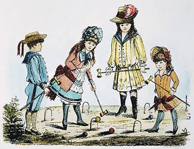 Children Playing Croquet Art Print by Granger