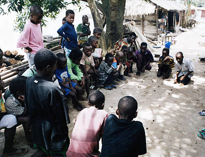 Photograph - Children Playing Game by Muyiwa OSIFUYE