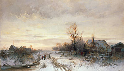 Children Playing In A Winter Landscape Art Print by August Fink
