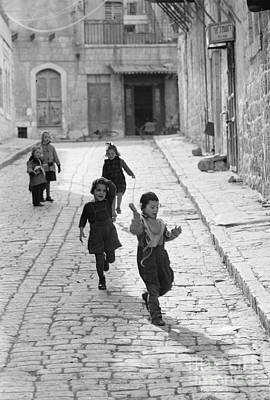 Jerusalem Photograph - Children Playing In Jerusalem, 1952 by The Harrington Collection
