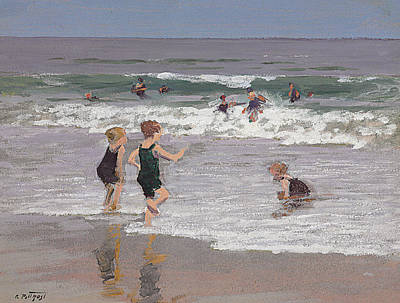 Children Playing In Surf  Art Print