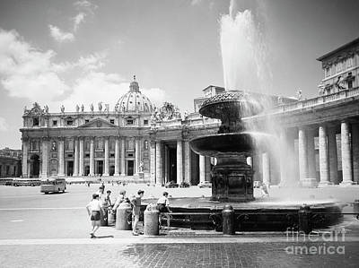 Children Playing Photograph - Children Playing In The Fountain At Vatican City, Rome, 1955 by The Harrington Collection