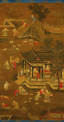On Silk Painting - Children Playing In The Palace Garden by Unknown Chinese
