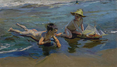 Public Holiday Painting - Children Playing On The Beach by Joaquin Sorolla