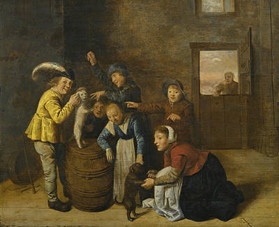 Jan Miense Molenaer Painting - Children Playing With Dogs In An Interior by Jan Miense Molenaer