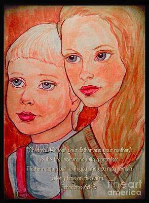 Painting - Children Portrait With Scripture by Joan-Violet Stretch