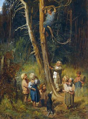 Painting - Children Raiding Nests In The Forest by Viktor Vasnetsov
