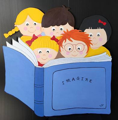 Children Reading Book Art Print