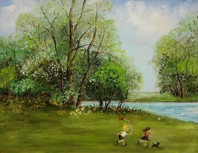 Children Running Art Print by Irene McDunn
