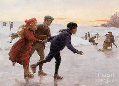 Winter Scenes Painting - Children Skating by Percy Tarrant