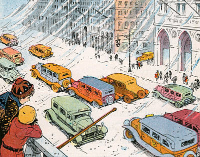 Children Watching City Traffic In A Snowstorm Art Print