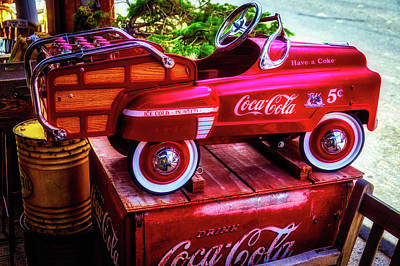 Peddle Photograph - Childrens Coca Cola Car by Garry Gay
