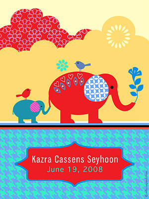 Elephants Digital Art - Children's Elephant Poster by Misha Maynerick