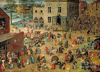 Leap Frog Painting - Children's Games by Pieter the Elder Bruegel