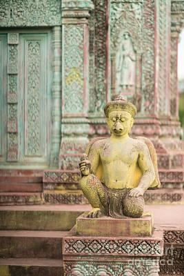 Childrens Hospital Temple Details In Siem Reap Art Print by Mike Reid