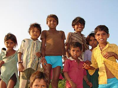 Childrens In Their Free Time At Village Enjoying Art Print by Sandeep Khanwalkar