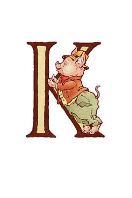 King Kai Digital Art - Children's Letter K by Andrea Richardson
