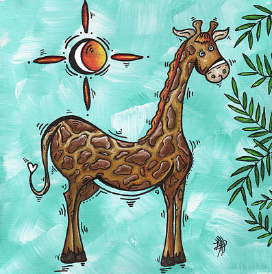 Childrens Nursery Art Original Giraffe Painting Playful By Madart Art Print