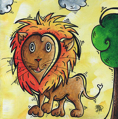 Lion Illustrations Painting - Childrens Whimsical Nursery Art Cutie Pie By Madart by Megan Duncanson